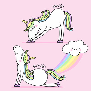 Exhale - Inhale - namaste fart rainbow funny vector quotes and unicorn drawing. Lettering poster or t-shirt textile graphic design. / Cute unicorn character illustration on isolated blue background.