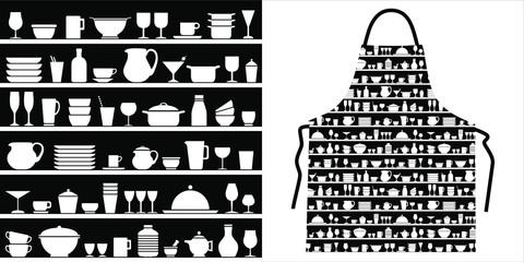 Motif vaisselle sur des étagères pour une impression originale sur un tablier de cuisine.