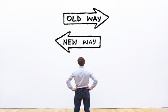 old way vs new way, improvement and change management business concept