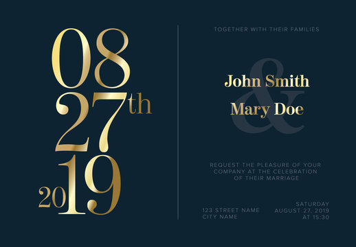Navy Blue Wedding invitation Layout with Golden Typography Elements