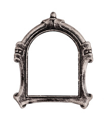 Silver gothic frame for paintings, mirrors or photos isolated on white background