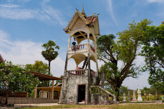 Tower at Wat That Buddhist Temple in Champasak, Laos