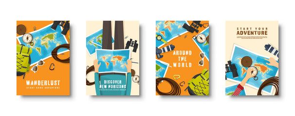 Travel and tourism flat style covers set. World, earth map navigation. Journey, summer time holidays. Travelling, exploring worldwide. Vector illustration. Fototapete