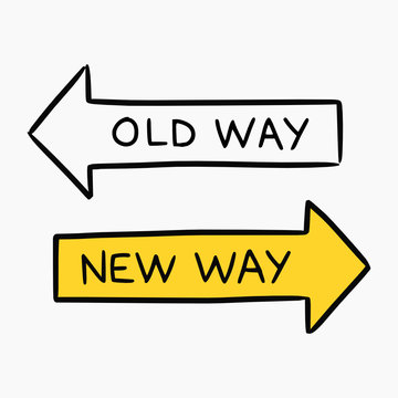Hand drawn doodle style illustration of two road signs representing the new way and old way approach to business