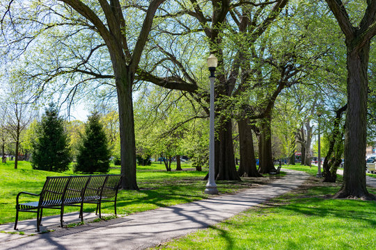 Bench and Trail at Welles Park in Lincoln Square Chicago