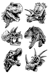 Graphical set of dinosaurs isolated on white ,vector illustration