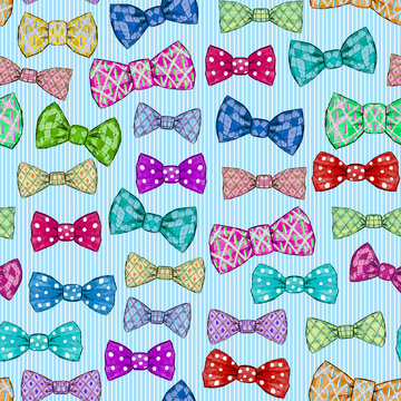 Seamless pattern with bow tie on blue striped background