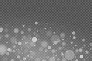 Wall Mural - Light effect. Abstract lights bokeh isolated on transparent background. White glowing. Snowfall effect. Random blurry spots. Vector illustration