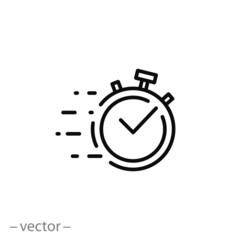quick time icon, fast deadline, rapid line symbol on white background - editable stroke vector illustration eps10