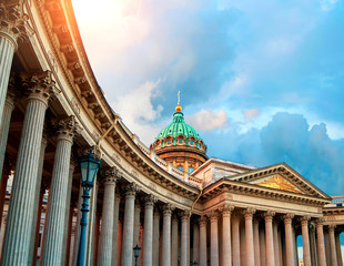 St Petersburg, Russia. Kazan Cathedral in St Petersburg, Russia. Dome and colonnade of Kazan Cathedral in St Petersburg