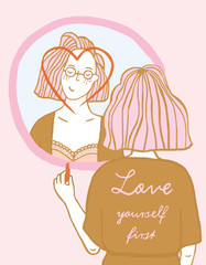 Girl in front of a mirror Love yourself first Illustration