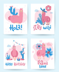 Llama and alpaca collection of cute hand drawn illustrations, greeting cards and design for nursery design, poster. Super cute bright print set. Lettering qoutes Happy birthday, hola, llama love, stay