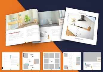 Minimalist Square Blue and Orange Brochure Layout