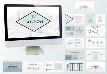 Minimalist Green and Gray Presentation Layout with Model Cityscape