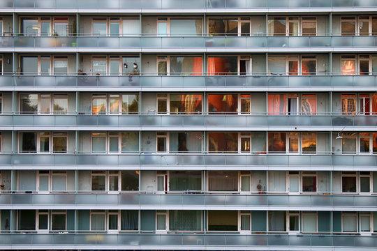 sameness, similarity of modern residential high-rise buildings