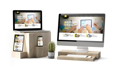 Wall Mural - wooden cubes devices isolated ux design website