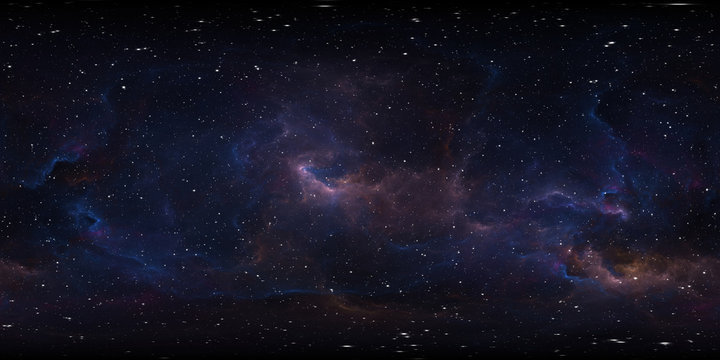 Space background with nebula and stars. Environment 360 HDRI map. Equirectangular projection, spherical panorama.