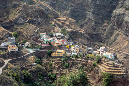 Village with colored houses on the island of Santo Antao, Cape Verde.