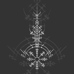 Dark background with white grunge magic symbol