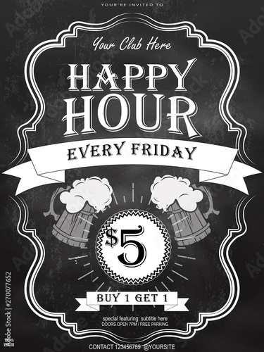 Happy Hour Offer Flyer Template With Beer Mug On Chalkboard Free