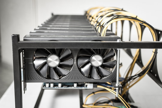 Mining Rig Machine for Cryptocurrency Using Powerful Computer Graphic Cards