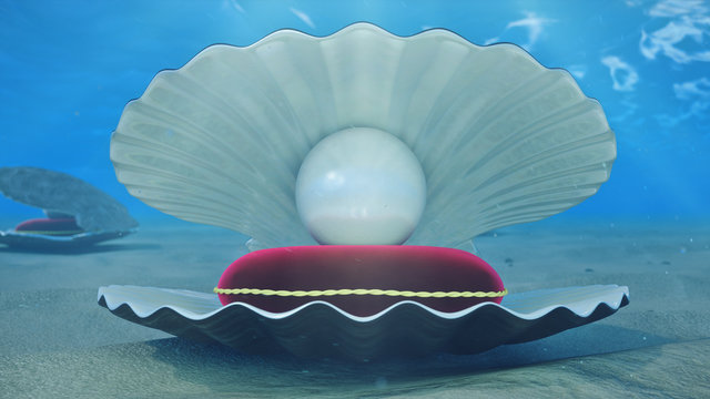 Mother of pearls underwater. Sea shell underwater with pearl inside and red velvet pillow. Oysters and pearls on the underwater sandy seabed. Sunlight beams and shine through water, 3D Illustration