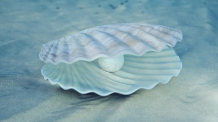 Mother of pearls underwater. Sea shell underwater. Beautiful pearls, expensive jewelry. Oysters and pearls on the underwater sandy seabed. Sunlight beams and shine through water, 3D Illustration