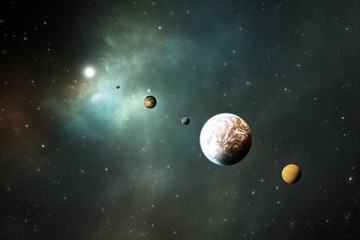 Rocky planets, Exoplanets or Extrasolar planets from deep outer space.