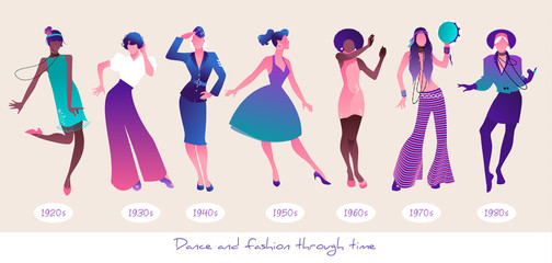 Dance and Fashion through time. Set seven women dancing wearing clothes from different eras, from the twenties to the 80s