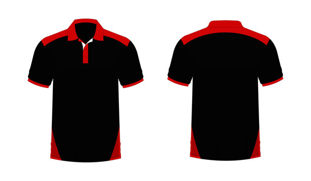 T-shirt Polo red and black template for design on white background. Vector illustration eps 10.
