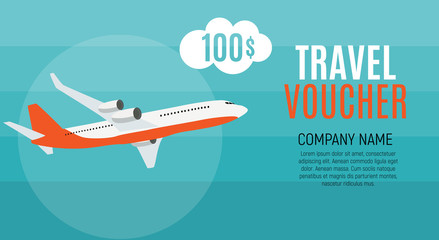 Travel Voucher 100 Dollar Template Background with Airplane. Vector Illustration