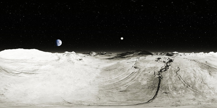 360 degree Moon landscape, equirectangular projection, environment map. HDRI spherical panorama. Space background