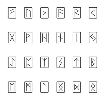 Basic Set of Runes in a Minimal Style with Rectangle Outlines