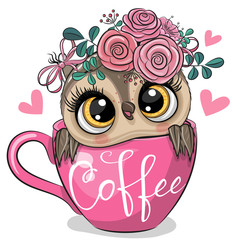 Canvas Prints Owls cartoon Cartoon owl is sitting in a Cup of coffee