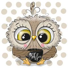 Canvas Prints Owls cartoon Cartoon owl with black Cup of coffee