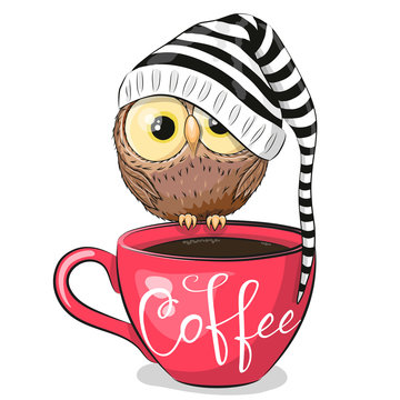 Cartoon owl is sitting on a Cup of coffee