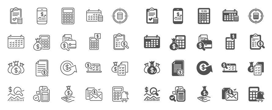 Accounting line icons. Set of Calculator, Check investment and Report icons. Calendar, Banking account and Finance accounting report document. Bill, Calculator and Wealth auditing. Quality sign set