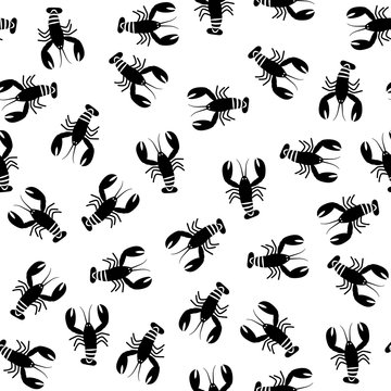 Crawfish monochrome seamless pattern. Flat illustration of black lobsters.