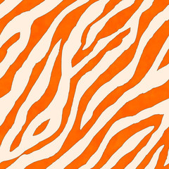 Abstract white and orange zebra striped ink textured seamless pattern background