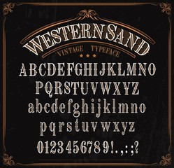 Obraz Typeface, western font alphabet, numbers and signs - fototapety do salonu