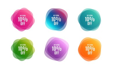 Blur shapes. Get Extra 10% off Sale. Discount offer price sign. Special offer symbol. Save 10 percentages. Color gradient sale banners. Market tags. Vector