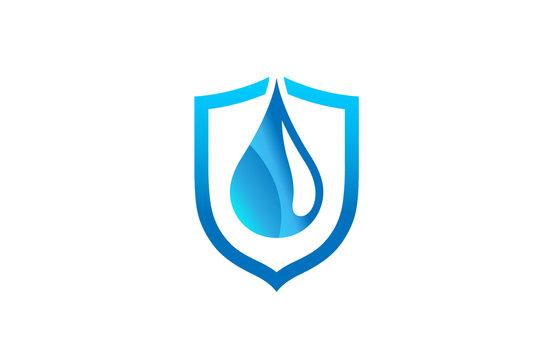 Creative Abstract Blue Droplet Shield Logo Design Symbol Vector Illustration