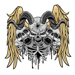 Gothic sign with skull,and wings grunge vintage design t shirts