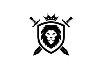 Creative Heraldic Black Lion Head Crown King Swords Shield Logo Design Symbol Vector Illustration