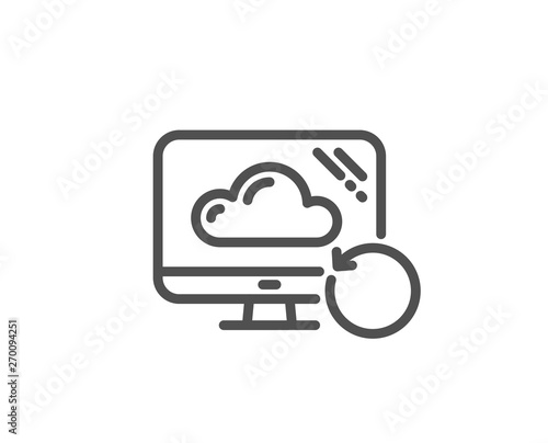 Recovery cloud line icon  Backup data sign  Restore