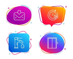 Tap water, Incoming mail and 24h delivery icons simple set. Lift sign. Faucet, Download message, Stopwatch. Elevator. Technology set. Speech bubble tap water icon. Colorful banners design set. Vector