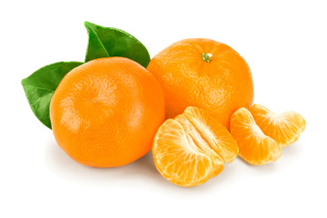 tangerine or mandarin fruit with leaves isolated on white background Wall mural