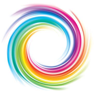 Vector backdrop of spiral rainbow spectrum
