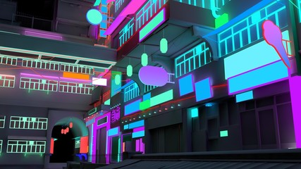 Fotomurales - 3d illustration of the futuristic city in the style of cyberpunk. Buildings in an asian style with neon lights. Beautiful night scene with many luminous objects.