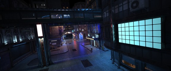 Fotomurales - Futuristic city street. Beautiful night scene with neon lights. Wallpaper in a style of cyberpunk. Photorealistic 3d illustration. A huge glowing billboard on the wall of a building.
